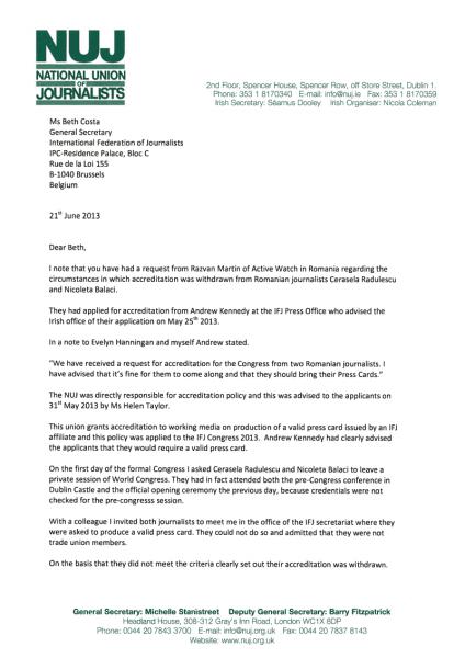 """Prima pagină a raportului FIJ privind incidentul provocat la Dublin de """"agentele"""" diversioniste ale lui """"Adrian"""" Miculescu"""