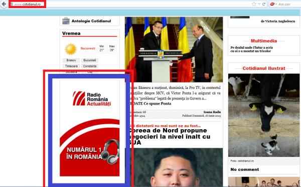 """Reclama Radio România pe site-ul cotidianul.ro, singurul site care a participat la dezinformarea lui Ovidiu """"Adrian"""" Miculescu. Rămâne de aflat cât a fost """"taxa"""" de protecție încasată de site-ul lui Nistorescu"""
