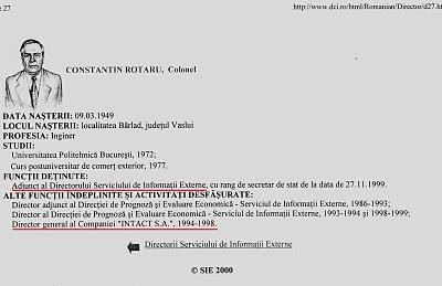 """imagine postată pe site-ul SIE, privind trecutul colonelului - pe atunci - Constantin Rotaru, fostul șef al INTACT SA în aceeași perioadă cu fostul informator """"Adrian"""" Ovidiu Miculescu"""