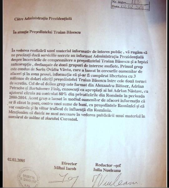 Șantajul încercat asupra lui Traian Băsescu, pentru diversiune, la câteva zile după ce s-a scos de la naftalină dosarul BRS. Băsescu a ieșit apoi cu o declarație publică prin care l-a avertizat pe pușcăriabilul Iacob să nu se mai folosească de numele său în infracțiunile pe care le comite.