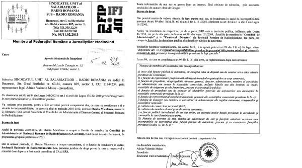 Sesizarea ANI privind incompatibilitatea lui Ovidiu Miculescu, șeful SRR