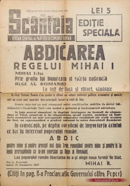 """Ziarul bolșevic Scânteia anunță trădarea (""""abdicarea"""") Regelui Mihai I."""