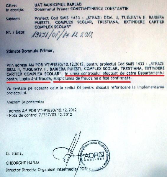 Fragment din adresa ADR Nord Est către Primarul Constantinescu