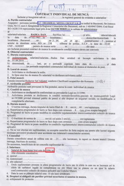 """Contract de muncă între jurnalistul Dan BADEA, angajat ca Redactor Șef Adjunct la ziarul """"Curentul"""" și DRAMIRAL MEDIA GROUP SRL - editorul ziarului """"Curentul"""", reprezentat de Mirela IACOB (pag 1). Salariu (în acte): 1.096 lei (brut)"""