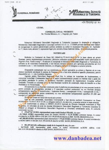 Adresa MDRT către CL Negresti, pag.1