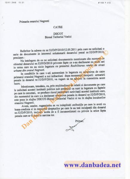La ordinul lui Iacob, primarul PDL din Negrești mârâie înspre DIICOT Vaslui. La putere era PDL!