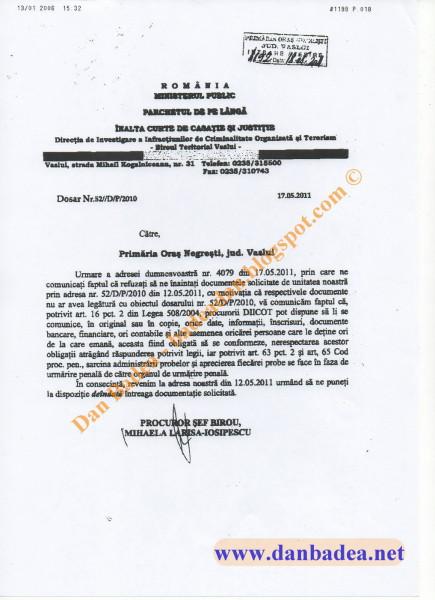 DIICOT Vaslui îi reamintește lui Gâgă din Negrești, primarul marionetă Ioan Cozma, că trebuie să respecte legea, nu ordinul infractorului care-l manipulează.