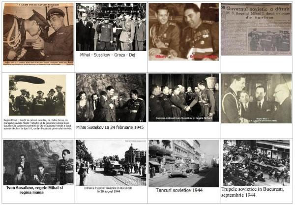 Bolșevici în diferite ipostaze, alături de trădătorul Mihai I