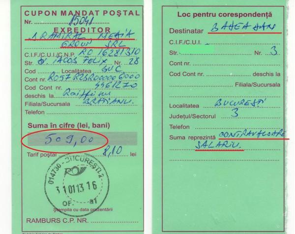 Salariul meu la ziarul CURENTUL, CA REDACTOR ȘEF ADJUNCT, pe trei luni: 1 sept 2012-28 nov 2012 - 509 lei!!!