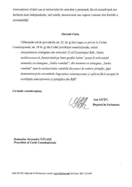 sesizarea deputatului Ana Guțu