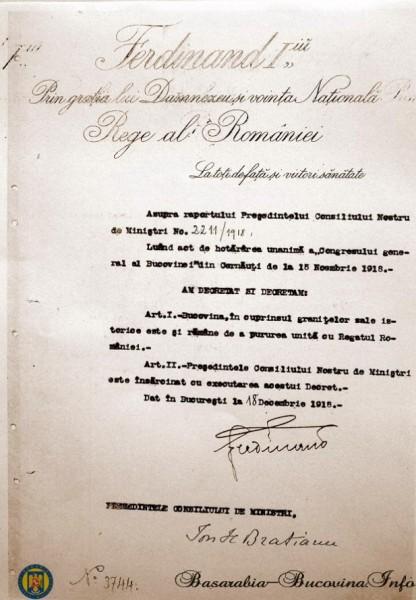 Decretul Regelui Ferdinand de Unire a Bucovinei cu Romania semnat si de Ion I. C. Bratianu, presedintele Consiliului de Ministri la 18 Decembrie 1918 (foto:www.basarabia-bucovina.info)