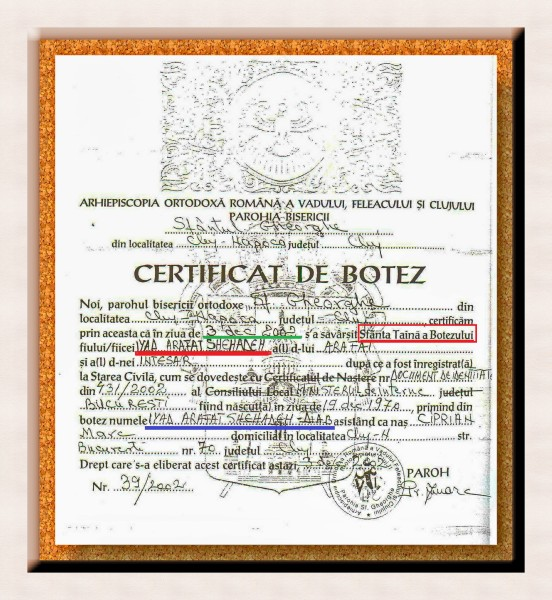 Certificatul de botez al palestinianului Iyad Arafat Shehaden - DIAB, un CREȘTIN MUSULMAN  de conjunctură