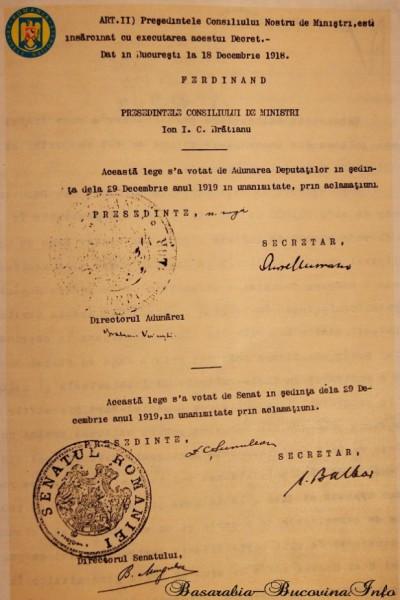 Legea asupra Unirii Bucovinei cu Regatul adoptata de Parlamentul Romaniei la 29 Decembrie 1918 (pag2) - (foto: http://basarabia-bucovina.info/)