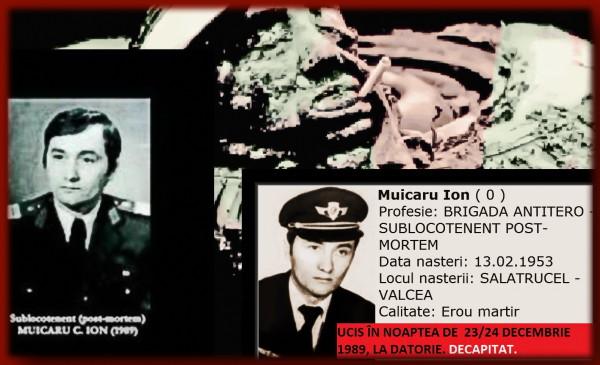 """24DECEMBRIE 1989: Capul unui USLAȘ (sublocotenent post-mortem ION MUICARU și nu al lui Gheorghe Trosca, așa cum s-a crezut - conform informațiilor furnizate de colegii acestora din fosta USLA), tăiat și """"expus"""" pe osia (cu cauciucuri) a unuia dintre TABuri"""