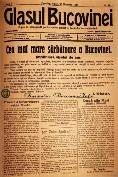 """Publicatia """"Glasul Bucovinei"""" – director Sextil Puscariu – din 16 noiembrie 1918, a doua zi dupa votarea Unirii cu Tara, cu articolele salutare pentru revenirea lui I. Z. Codreanu (foto mai jos) si de sarbatorire a evenimentului din 15/28 noiembrie, semnate de Ion Nistor si Pan Halippa (foto si explicație : http://basarabia-bucovina.info/)"""