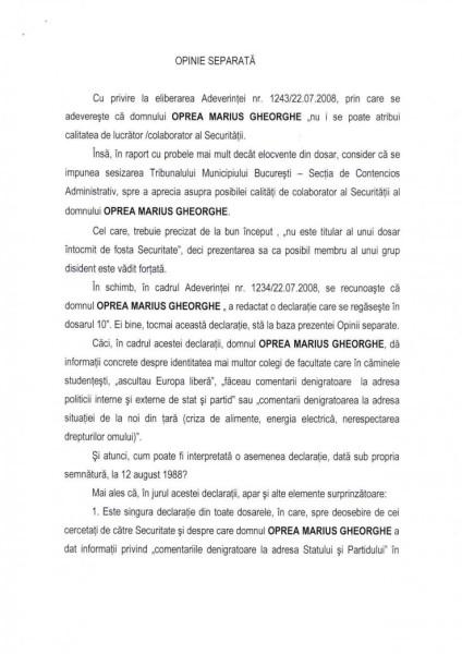 """Opinia Separata din care rezulta MARILE SEMNE DE INTREBARE asupra """"vânătorului de securişti"""" (p.1)"""
