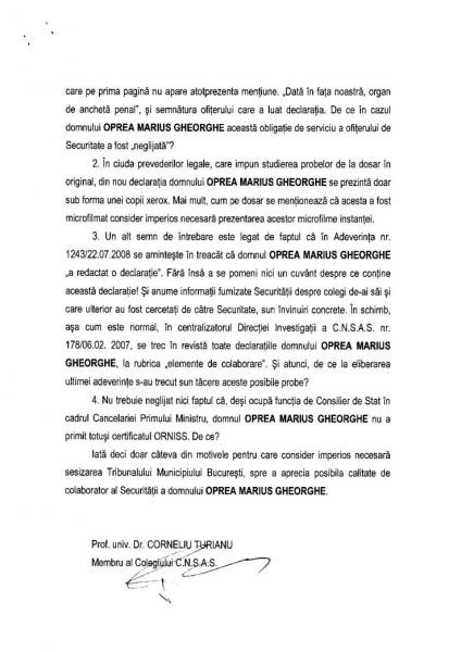 """Opinia Separata din care rezulta MARILE SEMNE DE INTREBARE asupra """"vânătorului de securişti"""" (pag2)"""