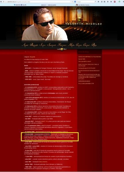 """CV-ul șmecherului Valentin Nicolau, una dintre slugile Varanului dupa ce a primit de la mine  documentele secrete care au stat la baza cartii pe care am publicat-o la editura lui (Nemira), """"AVEREA PRESEDINTELUI"""", în 1998"""