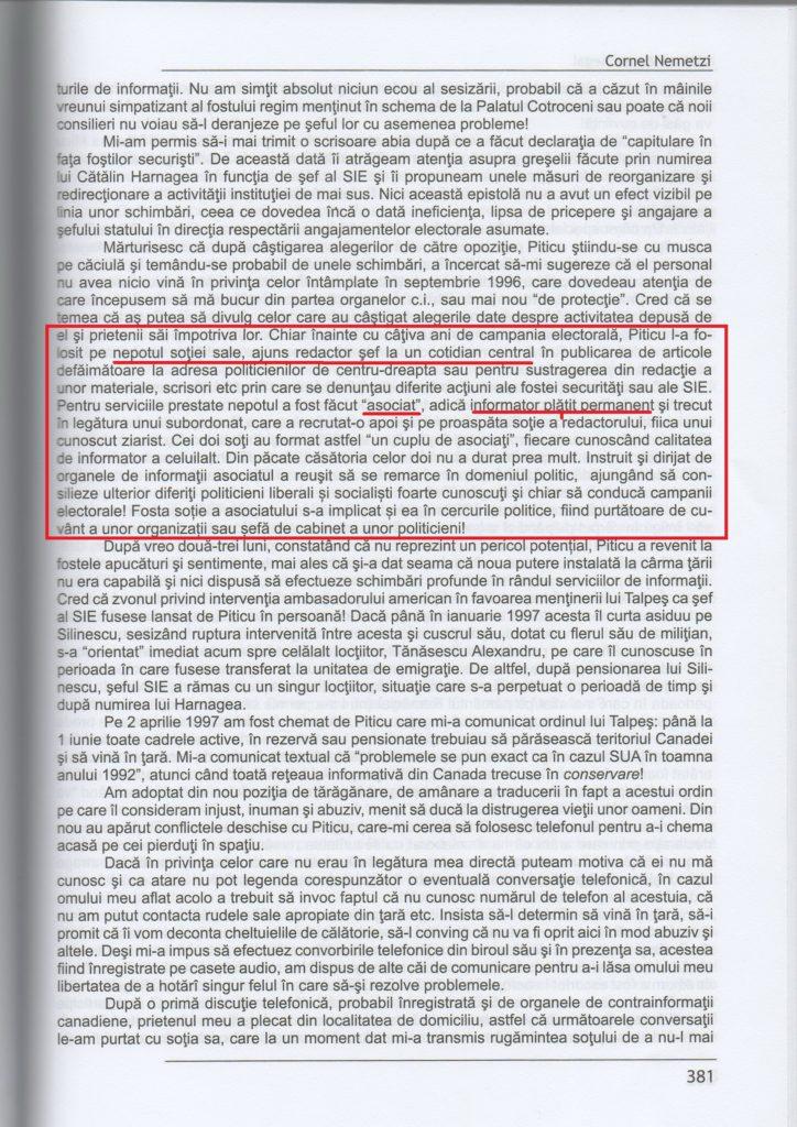 """fragmentul referitor la """"asociații"""" SIE din cartea lui Cornel Nemetzi, Ultimul Curier Ilegal"""
