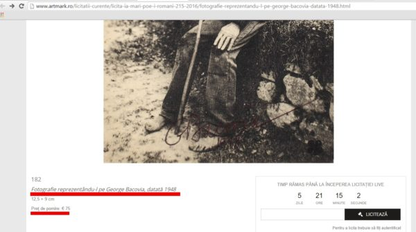 fragment din fotografia scoasa la licitatie de Artmark
